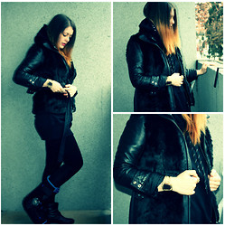 Anami Papay - Bershka Leather Jacket, Forever 21 Fur Vest - Dark Start