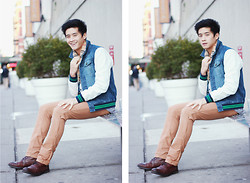 Peter Adrian - Prpgnda Denim Varsity Jacket, Gap Orange Pants, Rhythm Livin Woven Shirt - She makes me smile