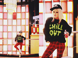 Rachel Lynch - Unif Shit Snapback, Jac Vanek Chill Out, The Editor's Market Plaid Pants, Jeffrey Campbell White Stud Neon Shoes - CHILL OUT