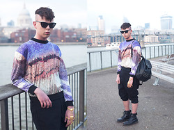 Byron London - Bill+Mar Jumper, Cheap Monday Sunglasses, Religion Drop Crotch Pants, American Apparel Leather Bag, Dr. Martens Black Boots - Crystallized