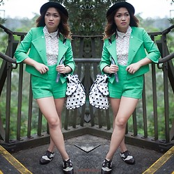 Ethel Manalo - Asos Blazer, Asos High Waisted, Asos Brogues, Cps Bag, Chicabooti Blouse, Bow Tie, Tempt Bowler Hat - Green with envy