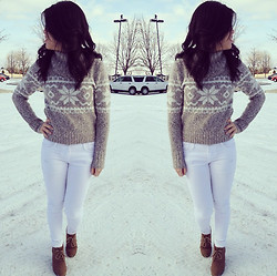 Amy C - Forever 21 Turtleneck Printed Sweater, Macy's White Skinnies, Sonoma Wedges - Turtleneck Sweater