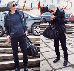 Mike Motsok - Bershka Leather, Asos Black, Bershka Leather Jacket, River Island Navy, Zara Black Leather, Sisley Grey Beanie - BLACK BLACK BLACK