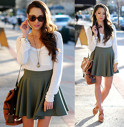 Jessica R. - Romwe White Tee, Chic Wish Army Green Circle Skirt, Vivilli Sunnies, Dailylook Brown Bag, Paper And Peonies Locket+Clock Necklace - Olive You Not ♥
