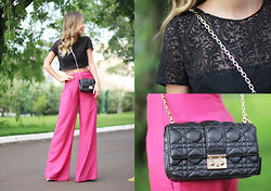 Luisa Accorsi - Luisa Accorsi Cropped Top, Christian Dior Bag - Cropped and Pink