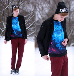 Adrian Kamiński - Sheinside Sweateshirt - Blue Galaxy Print Sweateshirt
