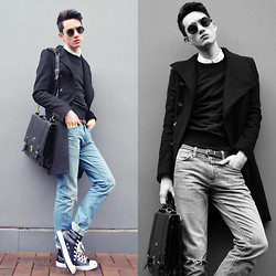 Nigel Lew - Vintage Glasses, Standard Jeans, Uniqlo Jumper, Vintage Bag - Boy Culture