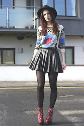 Ciara O doherty - Queens Wardrobe Jumper, Jeffrey Campbell Boots, Ebay Skirt, Topshop Hat - Fresh off the Runway