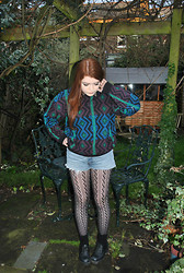 Ellie C - Blitz Vintage Wool Jumper, Levi's® Levi Shorts, M&S Tights, Office Black Boots, Vintage Leopard Print Shirt - Such fun