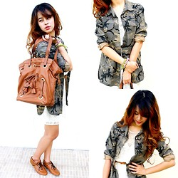Princess T - Topshop Ribbon Tote, Zara Studded Camo Jacket, Zara Lace Dress, Http://Www.Facebook.Com/Tutumshop1?Fref=Ts Brenda Botties In Tan - Camouflage