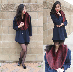 Wing Y. - Nine West Black Heels, Forever 21 Faux Fur Collar, H&M Black Dress - MIND-BLOWN