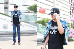 Fahmi Ramadhan - Boy London Studded Cap, Boy London, Unbranded Diy Bleached Denim - BOY-ING