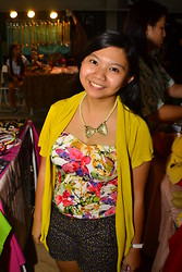 Louie Belle Regente - Forever 21 Pearls & Ribbon, Jellybean Floral Corset, Cln Yellow Cardigan, Candie's Floral Shorts - Live The Animo 2013!