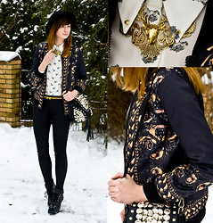 Kazia Jaszkiewicz - Romwe Printed Dog Jacket, Rowme Deer Necklace, Rowme Button Bag - We were so Brave!