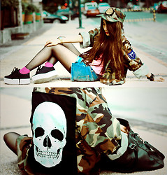 ▲▼ Asyluminica ▲▼ - Punk X Pretty Camo Cap, Punk X Pretty Customized Camo Jacket, Punk X Pretty Tie Dye Top, Topshop Denim Shorts, Sm Leather Sling Bag, Bazaar Bracelets & Cuffs, Casio Gold Watch, Forever 21 Pink Socks, Jeffrey Campbell Zomg Platform Sneakers - † Out of sight †