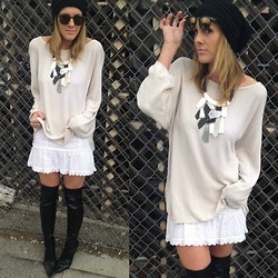 Tiffany Leigh - Bcbg Boots, Thrifted Sweater - Black & Creamy