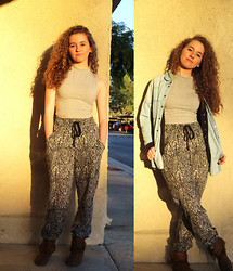 Christina Oliva - Forever 21 Cropped Sleeveless T, Forever 21 High Waisted Patterned Harem Pants, Forever 21 Light Wash Chambray Button Up, Moccasins - Desert Sunsets