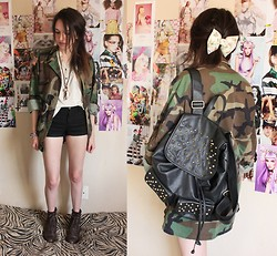 Allie Finch - Hand Made Floral Bow, Etsy Camo Jacket, Urban Outfitters Black Spiked Backpack, Urban Outfitters Cream Blouse, H&M Black Shorts, Forever 21 Brown Combat Boots - Miss Military