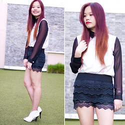 Raizelle So - Wholesale Dress Lace Shorts, Shopaholic Long Sleeves - No Gray Area