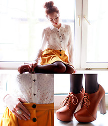 Wioletta Mary Kate - Awwdore Shirt, Awwdore Skirt - Mustard Skirt & Lace Shirt