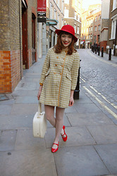 Kerry Lockwood - Absolute Vintage Red Felt Hat, Beyond Retro Vintage Childs Coat, Atmosphere Nude Polka Dot Stockings, Office Patent Red Mary Jane Shoes, Ebay Vintage Cream Vanity Case - London Calling...