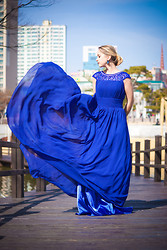 Olga Choi - Msdressy Dress, Romwe Earrings - Berlin blue