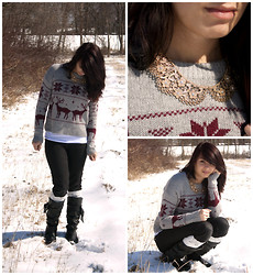 Emily Perkovich - Forever 21 Snowflake & Reindeer Sweater, Mossimo Black Jeggings, Charlotte Russe Black Bow Boots, Modcloth Gold Filigree Collar - 02242013
