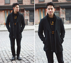 "Andy Null - Mackage Coat, Adidas Warriors ""The City"" Logo T, Gap Drop Crotch Skinny, Cole Haan Wingtips - Last day of my first NYFW"