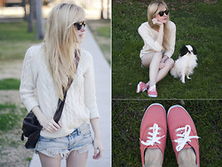 Catherine P - J.Crew Cable Knit, One Teaspoon Cutoff Shorts, Keds Tennis Shoes - Almost Spring