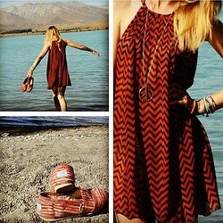 Hayley (FashionAndMe) - H&M Kaftan Dress, Toms Striped Pumps, Urban Outfitters Peace Necklace - Peace and love