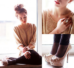 Wioletta Mary Kate - Shoes, Second Hand Blouse, H&M Ring - Lace Pattern Blouse