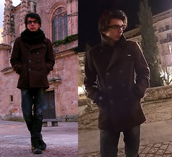 Alex Robles - Ray Ban Glasses, New Yorker Scarf, Pull & Bear Coat, Pull & Bear Jenas Slim Fit, Springfield Boots - Cold Days