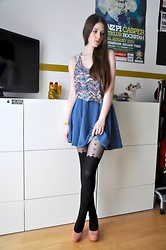 Laura R. - Silence & Noise Top, Atmosphere Denim Skirt, Asos Suspender Tights, Atmosphere Wedges - 02 / 26 / 2013