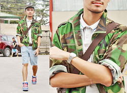 Yves Camingue - Penshoppe Pique Shirt, Thrifted Camo Jacket, Casio Wristwatch, Adidas High Cut Dunks, Levi's® Denim Cut Offs - Prep Ruffian