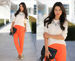 Annabelle Fleur - Jack Germain Clutch, J. Crew Sweater, Cameo The Label Pants, Alice + Olivia Heels - Truly Tangerine