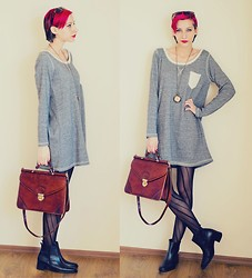 Evilish Queeny - Nowistyle Gray Pocket Dress, Second Hand Vintage Leather Bag, Second Hand Ankle Leather Boots - Shades of blah