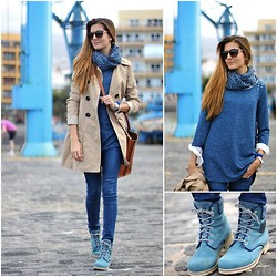 Marianela Yanes - Stradivarius Sweater, Panama Jack Booties, Springfield Trench - Blue over Blue