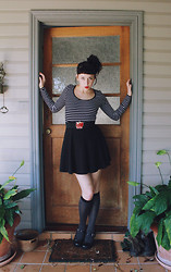 Kalindy W - Cotton On Striped Top, Black Skater Skirt, Guess? Apple Belt, Calvin Klein Black Knee Highs, Mary Janes - Little eiffel stands in the archway