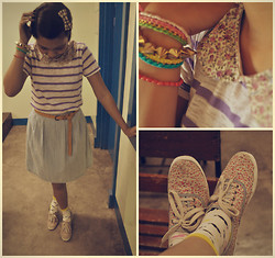 Christelle Mae Dacalus - Keds Floral Sneakers, Forever 21 Moustache Socks, Bayo Peter Pan Collar, Oxygen Suede Belt - Oh Wednesday :3