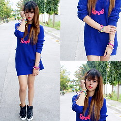 Princess T - Forever 21 Royal Blue Pullover, Yves Saint Laurent High Cut Sneakers - Gotta Love