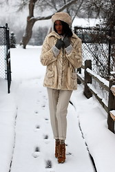 Gail C - Vintage Fur, Hnm Sweater, Joules Fur Hat, Kg Boots - Shortlived Snow... Melted Already