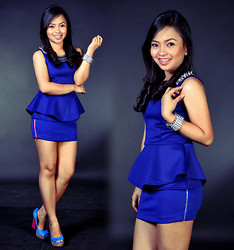 Rose Ann Bonaobra - Apartment 8 Clothing Spiked Royal Blue Peplum Top, People Are Double Zipped Royal Blue Mini Skirt, Primadonna Color Block Heels, Five Line Spike Cuffs - Spiked Peplum