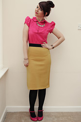 Charlotte Crowley - Topshop Pink Shirt, Frontrowshop Mustard Skirt, Topshop Pink Shoes - Who says you can't wear colour to work?