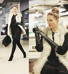 Kseniya B - Gucci Dress, Sergio Rossi Over The Knee Boots, Anya Hindmarch Bag, Chesco Long Gloves - The Furry tale