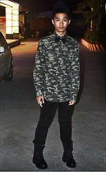 Paul Adriel Loquias - Mossimo Longsleeves Camouflage, Thrift Combat Boots, Black Bow, Thrift Skinny Black Pants - Camo's and Combat boots.