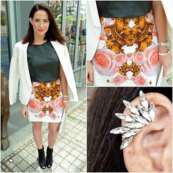 Yvette H - Jil Sander Suede Booties, Josh Goot Flower Bomb Skirt, Country Road Leather T, Ryan Storer Mini Ear Cuff, Country Road Blazer - Ear cuff ear candy...