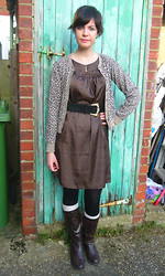 Charley Ellis - Leopard Print Cardigan, Silky Dress, Brown Leather Boots, Waist Belt - George's Girl