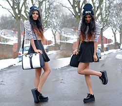 Kavita D - Boy Beanie, Ebay Stripe Crop, Romwe Black Skater Skirt, Ebay Double Platform Stud Creepers, Accessorize Stag Head Bag - Oh Boy