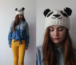 Andreea Mircea - Self Made Panda Beanie, Chic Wish Dyed Oversized Denim Shirt, Takko Yellow Pants - Bye bye, winter