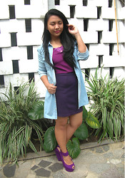 Bea Harpst - Giordano Chambray Button Down, Das 14 In Purple, Esprit Purple Pencil Cut Skirt - Purple Wins